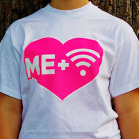 Wifi Love Graphic Tee. Me Plus Wifi Equals Love Shirt. Funny T-Shirt. Neon Heart Tee.