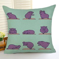 Comwarm Funny Cartoon Animals Doing Yoga Cotton Linen Pillow Relaxed Hippo Belldog Printed for Sofa Livingroom Decor