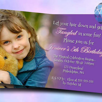 Tangled Party Hair Design For Birthday Invitation on SaphireInvitations