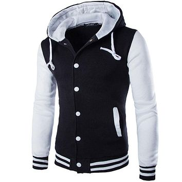 MEN JACKET SLIM FIT COLLEGE VARSITY HOODED BASEBALL HOMME OUTWEAR.