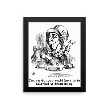 Alice in Wonderland Mad Hatter Framed Poster, Wall Decor