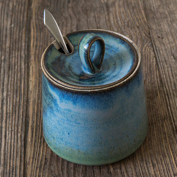 Blue Ceramic Sugar Bowl / Pottery Lidded Container / Honey Pot Jar / Kitchen Storage / Cream and Sugar / Sugar Container / housewarming gift