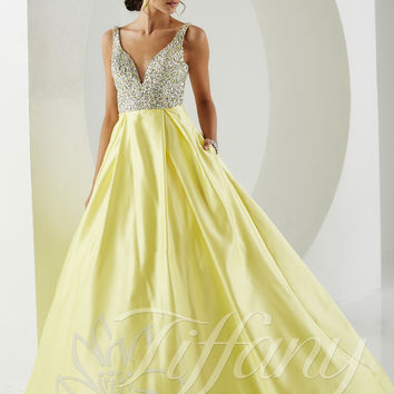 Plunging V-Neckline Tiffany Designs Prom Dress 61149