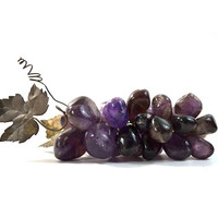Vintage Purple Grapes Crystal Quartz Grape Cluster Violet Grape Bunch Faux Grapes Violet Home Decor