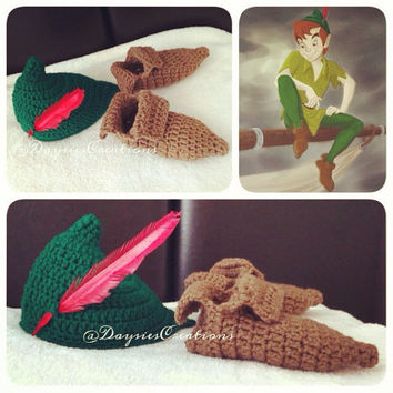 Peter Pan inspired hat and shoes
