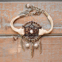 Dreamcatcher Bracelet Deerskin Dreamcatcher Layering Bracelet - Bohemian GYPSY Boho CHIC Stackable Jewelry Graduation Gifts Beach Wedding