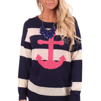 Navy Striped Anchor Sweater