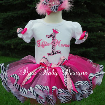 OTT Birthday Tutu Outfit   -Pink Cheetah and Zebra print over the top ribbon tutu set