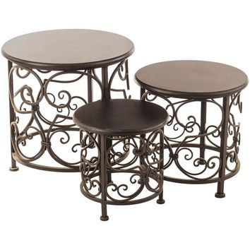 Round Black Scroll Metal Plant Stand Set
