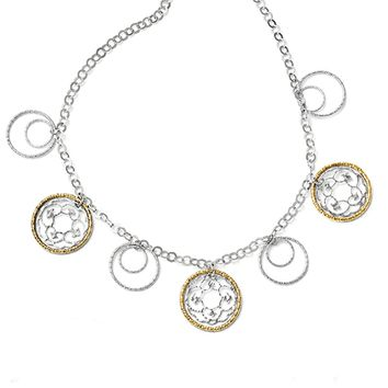 Two Tone Multi Circle Necklace in Sterling Silver & Gold Tone Accent