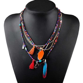 Multi Color Feather Necklaces & Pendants Beads Chain Statement Necklace Women Collares Ethnic Jewelry for Personalised Gifts