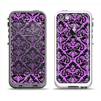 The Black & Purple Delicate Pattern Apple iPhone 5-5s LifeProof Fre Case Skin Set