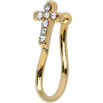 Clear Gem Gold IP Paved Cross Clip On Nose Ring