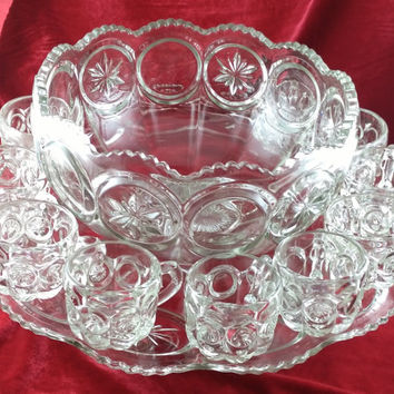 Vintage 12 Piece Set Crystal Punch Bowl, Glasses and Platter