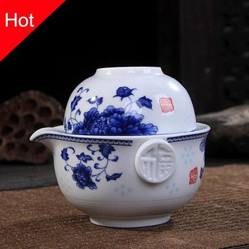 Ceramics Tea set Include 1 Pot 1 Cup, High quality elegant gaiwan,Beautiful and easy teapot kettle,kung fu teaset