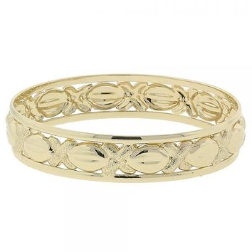 Gold Layered 07.91.0005 Individual Bangle, Hugs and Kisses Design, Matte Finish, Golden Tone (15 MM Thickness, Size 5 - 2.50 Diameter)