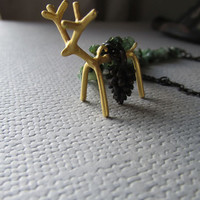 Matte Gold Deer in Emerald Forest Necklace - Winter Fashion - Genuine Stone - Free Domestic Shipping