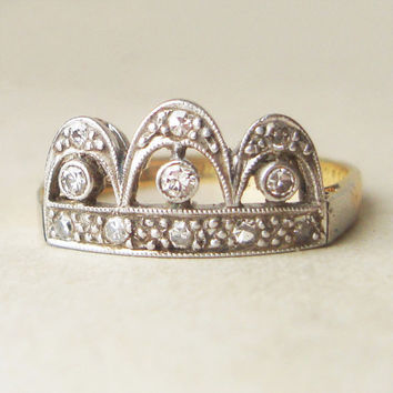 One of a Kind Art Deco Diamond Crown Shaped Ring, 18k Gold, Platinum and Diamond Engagement Ring, Approx.Size US 6.25