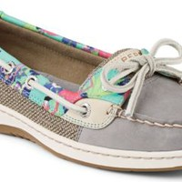 Sperry Top-Sider Angelfish Flamingo Floral Slip-On Boat Shoe Gray, Size 8.5M  Women's Shoes