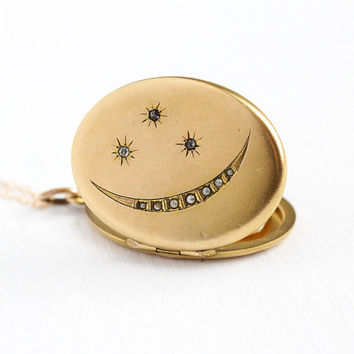 Antique Moon Locket - Vintage Edwardian Star Crescent Rhinestone Seed Pearl Pendant Necklace - 12k Yellow Gold Filled Monogrammed Jewelry