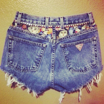 Creepy Kitty Guess Highwaisted Shorts by PeaceLoveStuds on Etsy
