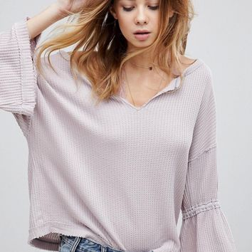 Free People Dahlia Flared Sleeve Thermal Sweater at asos.com