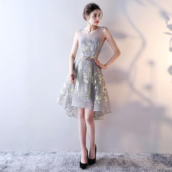 O-Neck Sleeveless Bling Sequined Appliques Zipper Dresses High And Low  Length Formal Dress