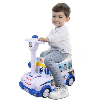 3 in 1 Multifunctional Ride On Police Car--Pretend Play Toy&Ride On Car&Activity Walker,Pretend Play Police Car with Sounds and Lights,Open Carbody with Multi-Police Accessories-Birthday Gift