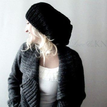 Black Slouchy Hat by LoveandKnit on Etsy