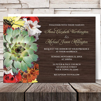 Autumn Floral Bouquet Wood Wedding Invitations and RSVP - Rustic Succulent Green Orange Yellow Red Brown - Printed Invitations