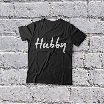 Hubby T-Shirt Husband Slogan Getting Married men Bachelor Mens Husband To Be Shirt