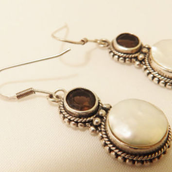 Sterling Silver Smoky Quartz and Mother of Pearl Earrings