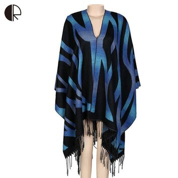Winter Striped Cashmere Blanket Scarf Mishmash Cape Women Capes And Ponchos