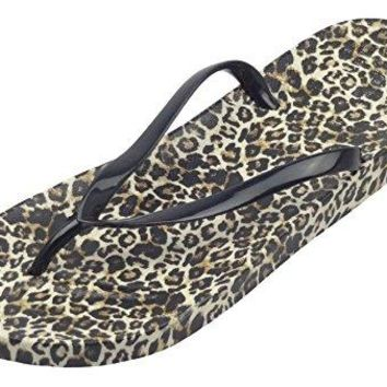 Easemax Womens Sexy Thong Leopard Prints Flip Flop Slippers Sandals