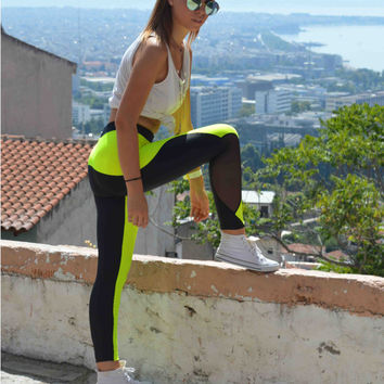Handmade Black - Neon Yellow Leggings Geometric Shapes Athletic Bottoms Sports Pants Stretch Leggings Spandex Sexy Leggings Halloween Gift