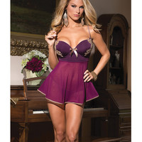 Microfiber & Mesh Babydoll W-underwire Push Up Cups & G-string Plum-tan Md