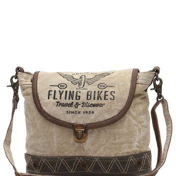 Myra Bag Flying Bikes Up-cycled Canvas Crossbody S-1036