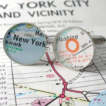 New York Teams Mets and Jets Stadium Football and Baseball Street Map Sterling Cufflinks