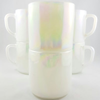 Vintage Federal White Moonglow, Iridescent Lustre Stackable,Mug Milk Glass, Opal Milkglass, Set of 6, Kitsch, Mug collector