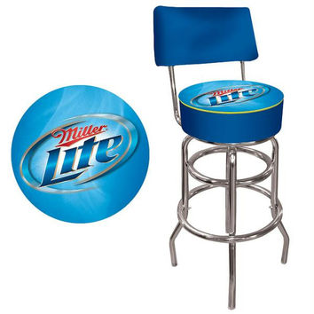 Miller Lite Padded Bar Stool with Back