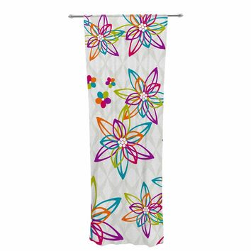 "Julia Grifol ""Happy Spring Flowers"" White Orange Vector Decorative Sheer Curtain"