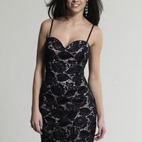 Dave & Johnny 337 Black Sweetheart Fitted Lace Prom Dresses Online