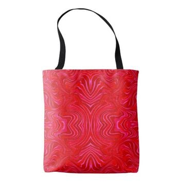 Red Abstract Patterns Tote Bag