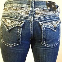 MISS ME JEANS WOMENS WESTERN ZEBRA BLING BOOT SIZE 33 RARE!! HARD TO FIND SIZE!