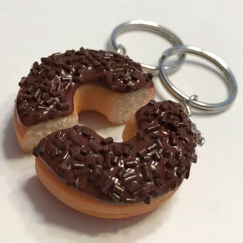 Double Chocolate Doughnut Halves Key Chains, Polymer Clay Food Accessories, Best Friends BFF, Friendship Keychains