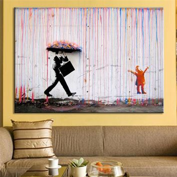 Wall Art Bright Color Modern Oil Painting No Frame Banksy Art Colorful Rain Wall Canvas Abstract Paintings Home Decoration