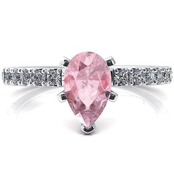 Nefili Pear Pink Sapphire 5 Prong 3/4 Eternity Diamond French Pave Engagement Ring