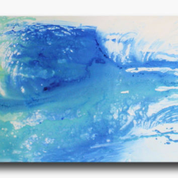 Abstract art canvas painting  blue turquoise 150cm x 50cm