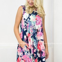 Neon Bright Floral Pocket Dress