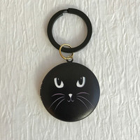 Black Cat Locket Keychain, brass key chain photo cats kitty kitten face lockets birthday Christmas stocking gifts gift for her unisex